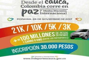 Este miércoles lanzamiento de la Primera Media Maratón Internacional en Popayán