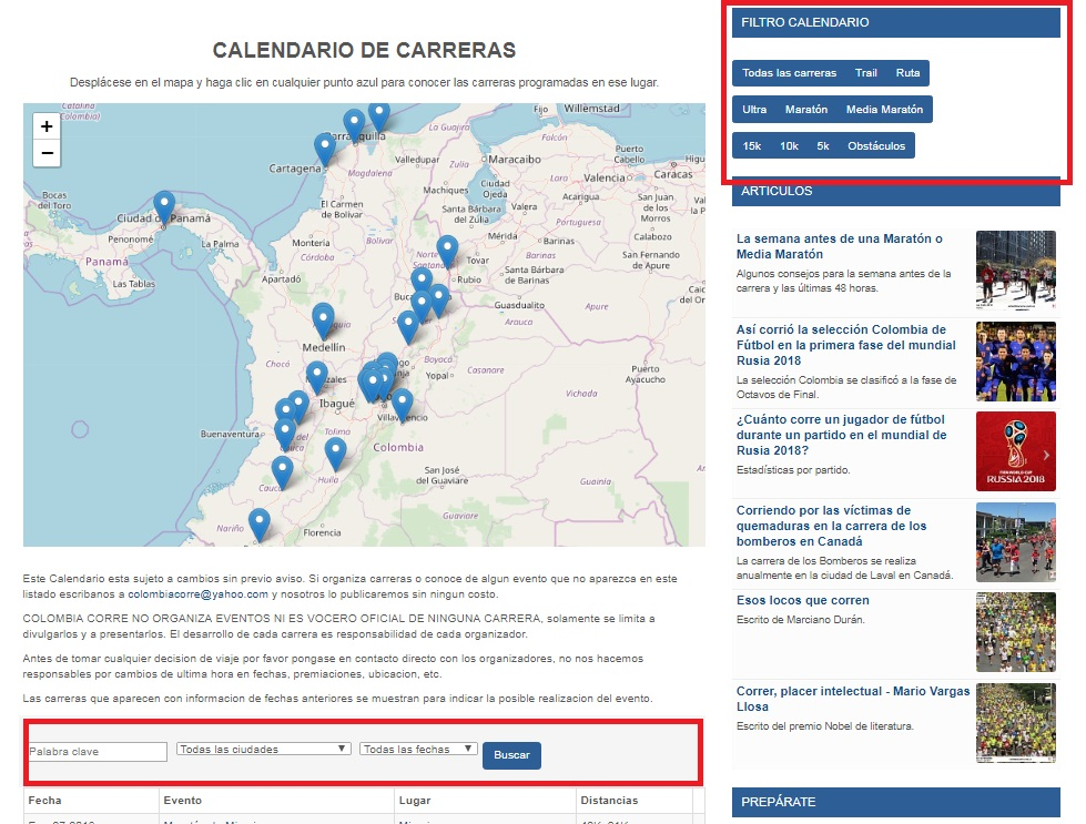 Calendario Colombiano.Colombia Corre Ahora Con Nuevo Calendario De Carreras