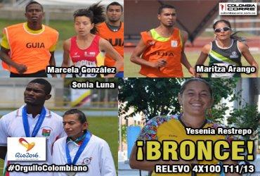 Equipo colombiano gana bronce en el relevo 4x100 T11/13