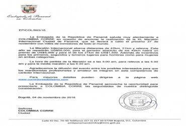 Embajada de Panamá invita a los atletas colombianos a correr