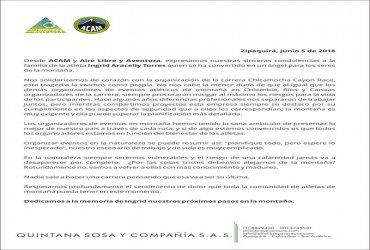 La Asociación de Aventura y Montaña se solidariza con la organización de la carrera del Cañon del Chicamocha